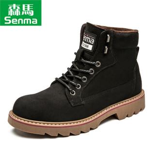 Semir 森马 BM716576 男士加绒马丁靴 黑色 43