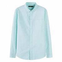 Semir 森马 19018051322 男士纯棉长袖衬衫 绿白色调 L