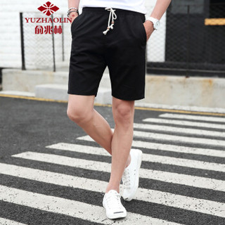 YUZHAOLIN 俞兆林 K518 男士休闲五分裤 黑色 M