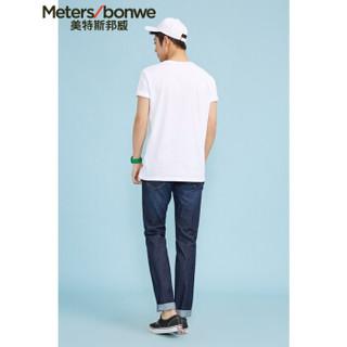 Meters bonwe 美特斯邦威 226250 男士净色圆领T恤 漂白 190/108