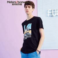 Meters bonwe 美特斯邦威 661255 男士风景叠印短袖T恤