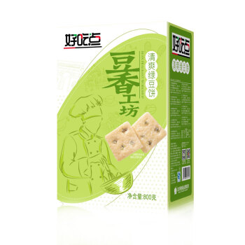好吃点 豆香工坊清爽绿豆饼 (盒装、绿豆味、800g)