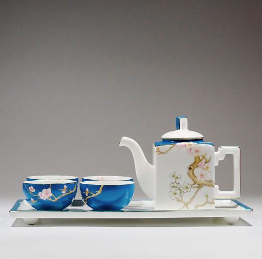 Asianera 手绘骨瓷 梅在春天 方壶茶具套装