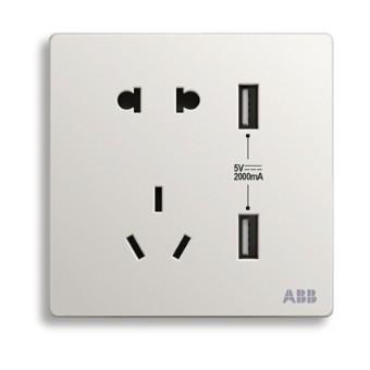 ABB 轩致系列 AF293 双USB五孔插座 雅典白