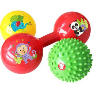 费雪Fisher-Price 儿童玩具球 新生儿训练球套装(宝宝摇铃按摩哑铃球)F0905