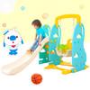 诺澳 辛巴狗系列儿童室内秋千滑梯组合家用多功能滑滑梯宝宝滑梯玩具 (吊绳杆款)-蓝色