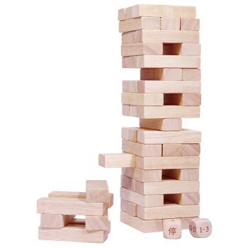 muma 木马智慧 原木层层叠积木玩具 54片