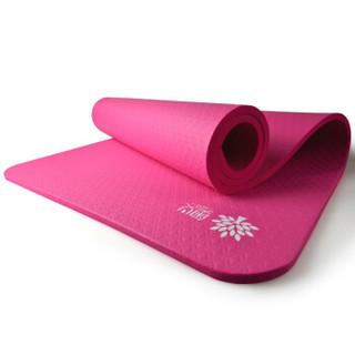 奥义 瑜伽垫 15mm加厚防滑健身垫 185*80cm(赠绑带+网包)加宽加长男女运动垫子 玫红