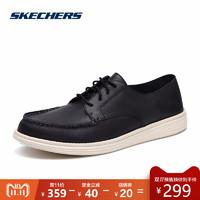Skechers 斯凯奇 65504 男士休闲皮鞋 (黑色、39.5)