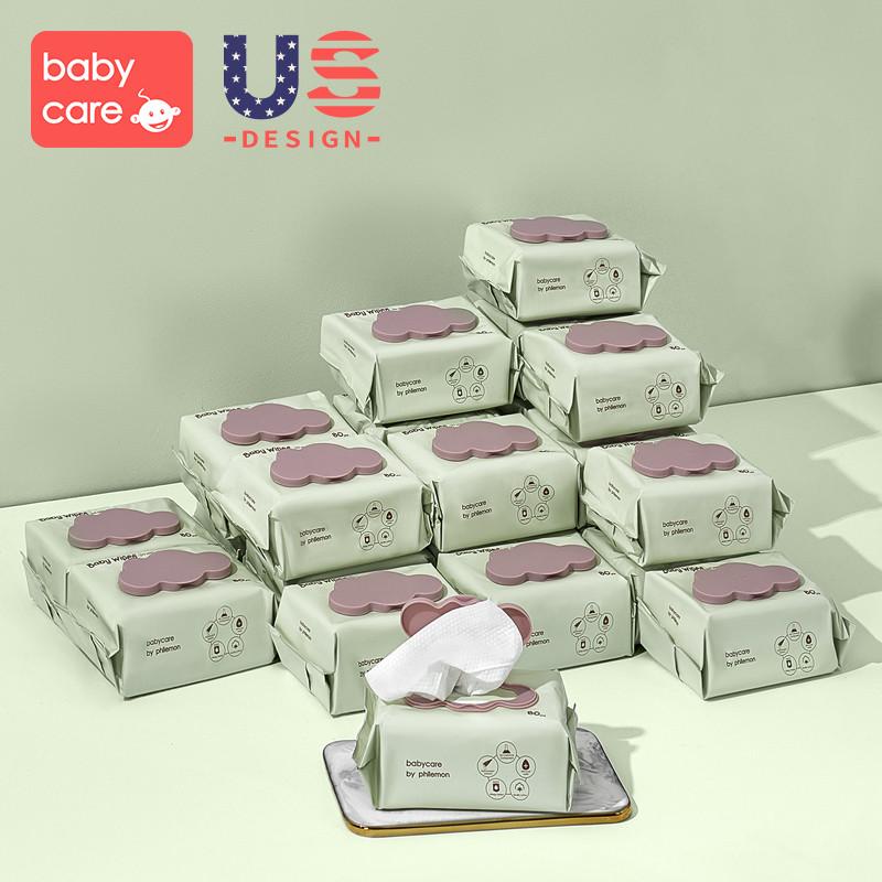 babycare婴儿手口专用湿巾加厚湿纸巾80抽带盖*24