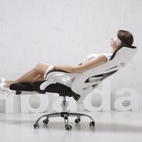 双11预售:Hbada 黑白调 117 加宽头枕电脑椅 白色升级版(脚托)