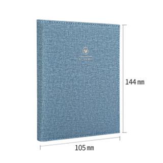 deli 得力 SZ603-B 简约皮质手账本 (单个装、硬面抄、仿皮、线装式装订、手账、A6/120张、蓝色)