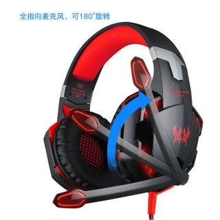 KOTION EACH 因卓 G2000 耳机 (Windows、动圈、头戴式、16Ω、黑红色)