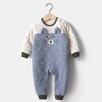 PaPa 爬爬 婴儿加厚拼接连体衣