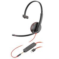plantronics 缤特力 C3215 USB-C 耳机 (通用、头戴式、黑色)
