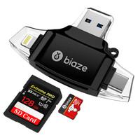 京东PLUS会员 : 毕亚兹 手机读卡器 多功能合一 OTG读卡器 USB手机U盘  机通用 A9-黑