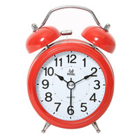 明珠星(PEARL)闹钟创意静音懒人机械打铃钟表家居小闹钟个性闹表学生儿童卧室床头时钟PT253 红色