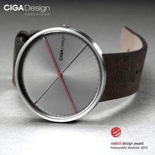CIGA Design 玺佳 D009-2A-1 防水超薄石英腕表 银色皮带款 双针腕表二代