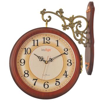 INTERIGHT大气田园钟表欧式双面挂表现代艺术创意挂钟静音石英钟2609木纹色