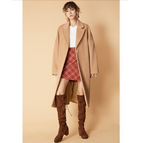 12日0点、双12预告:C&A CA200211022-FD 中长宽松褶饰羊毛呢大衣
