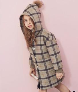 爱法贝 女童格子毛呢外套