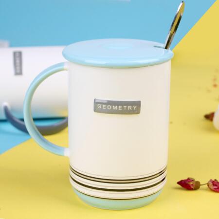 YUNT 創意陶瓷水杯居家辦公帶蓋帶勺馬克杯 咖啡杯牛奶杯早餐杯 裝飾線簡約杯