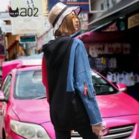 a02 DTT5A0801KT 女士拼接宽松连帽长袖卫衣 黑色 S