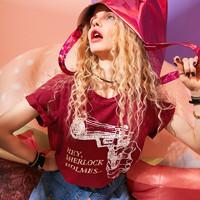 elf sack 妖精的口袋 18205007 女士宽松休闲短袖T恤 巴黎红 S