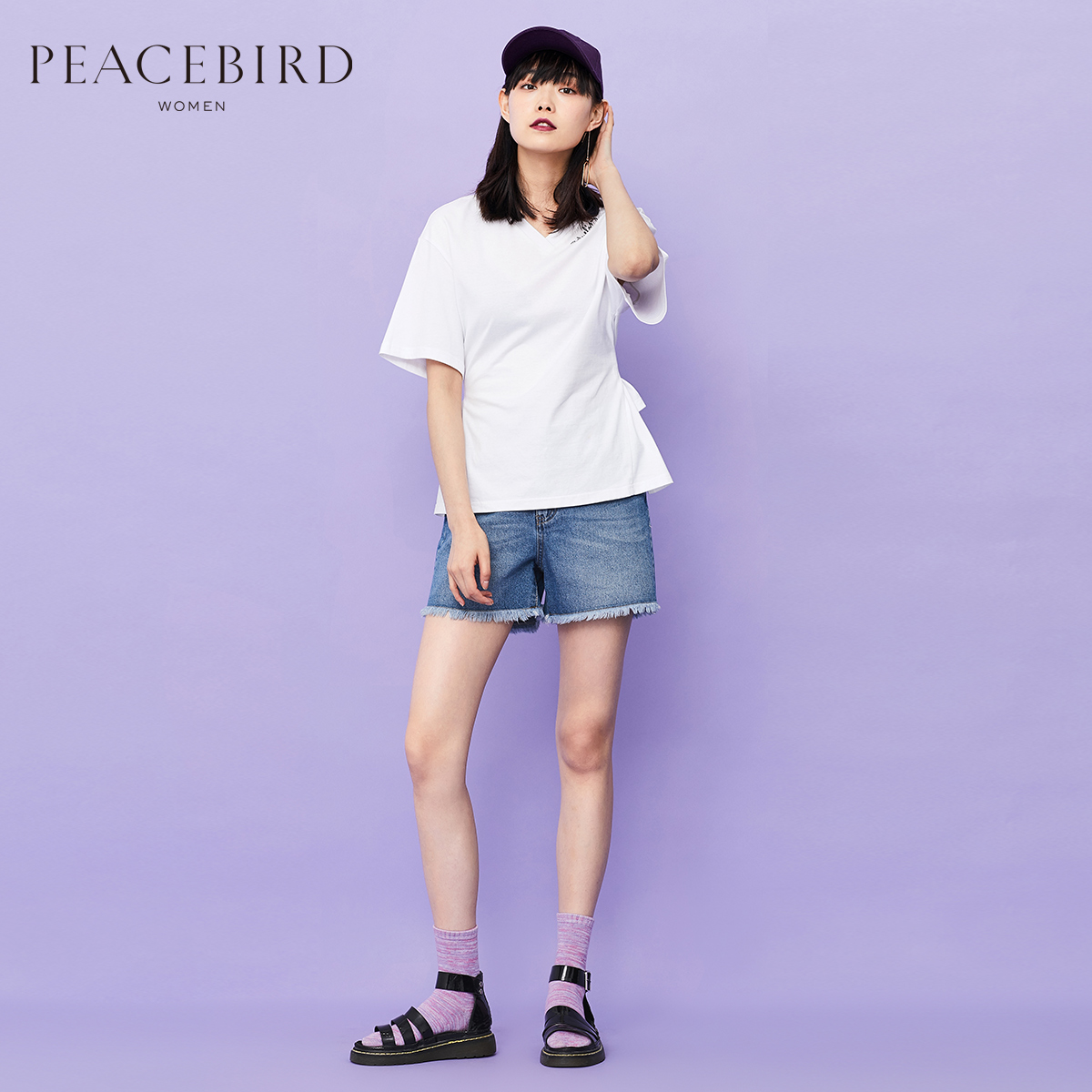 PEACEBIRD 太平鸟 AWDA82638 女士字母宽松V领短袖T恤 白色 S