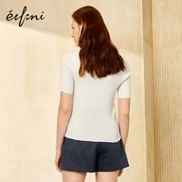 Eifini 伊芙丽 1170395237971 女士修身圆领套头短袖针织衫 本白色 S