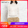 MO&Co. 摩安珂 MA173SWT305 女士高领镂空网眼针织衫 米白色 S