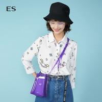 ES 艾格运动 8E031412386 女士印花翻领九分袖衬衫 本白色 M