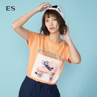 ES 艾格运动 8E032813386 女士印花圆领短袖T恤 浅蓝色 S