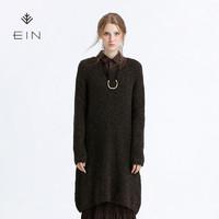 EIN 言 EK0802741 女士圆领中长款针织连衣裙 深灰 L