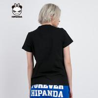 HIPANDA 熊猫人 0171112667 女士熊猫套路短袖T恤 黑色 S