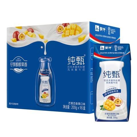MENGNIU 蒙牛 纯甄 常温风味酸牛奶 芒果百香果口味 200g*16 礼盒装