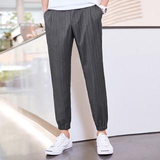 PEACEBIRD 太平鸟 BWGB83609 男士灰色竖条纹休闲裤