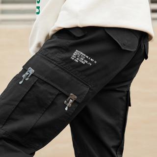 PEACEBIRD 太平鸟 BWGB83637 男士工装休闲裤 黑色 S