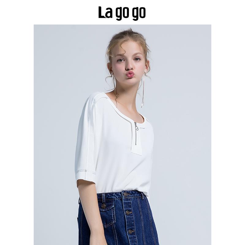 La·go·go 拉谷谷 HCSS436C17 女士圆领宽松中长袖雪纺T恤 本白色 36