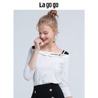 La·go·go 拉谷谷 HCTT417M03 女士学院风七分袖T恤 本白色 36