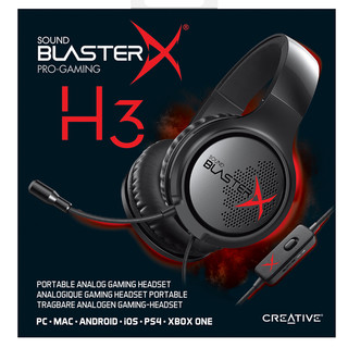 CREATIVE 创新 Sound BlasterX H3 耳机 (通用、头戴式、黑色)