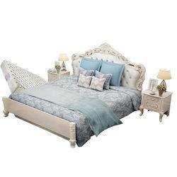 欧尔卡斯 欧式皮艺床组合 (床1.8m+床头柜*1+床垫*1 )