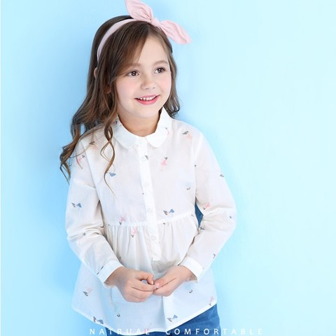 安奈儿 女童翻领衬衫长袖