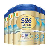 Wyeth 惠氏 婴儿配方奶粉3段 900g*4罐 (6-12个月)
