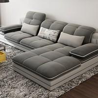 A家家具 可拆洗布艺沙发组合 (灰色 三人位+右贵妃位)