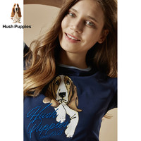 Hush Puppies 暇步士 HD-18365 女士圆领印花套衫 浅红 S