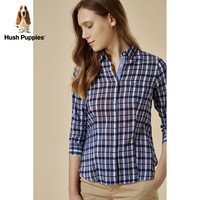 Hush Puppies 暇步士 HA-18318 女士棉麻格衬衫 浅蓝 S