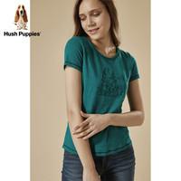 Hush Puppies 暇步士 HD-18307 女士圆领刺绣T恤 中绿 XS