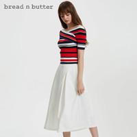 bread n butter 面包黄油 7SBEBNBTOPK649113 女士条纹V领修身针织T恤 橙红色 XS