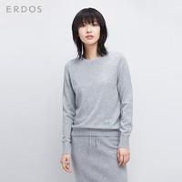 ERDOS 鄂尔多斯 E276A0187 女士圆领套衫羊绒衫 灰色 L